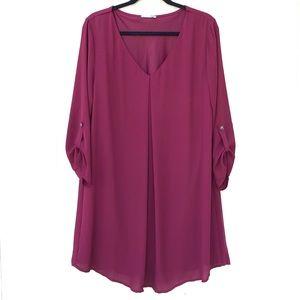 [LUSH] Red Burgundy Maroon ¾ Long Sleeve Dress XL
